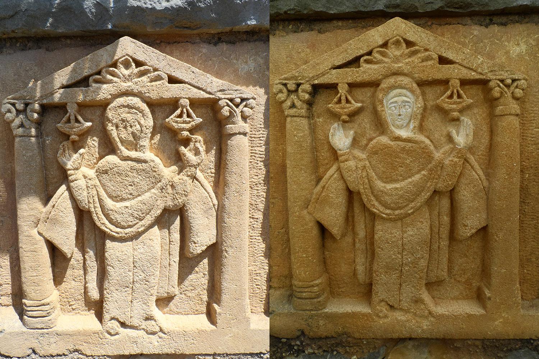Visage et mains resculptés sur un bas-relief représentant la protection de la Mère de Dieu