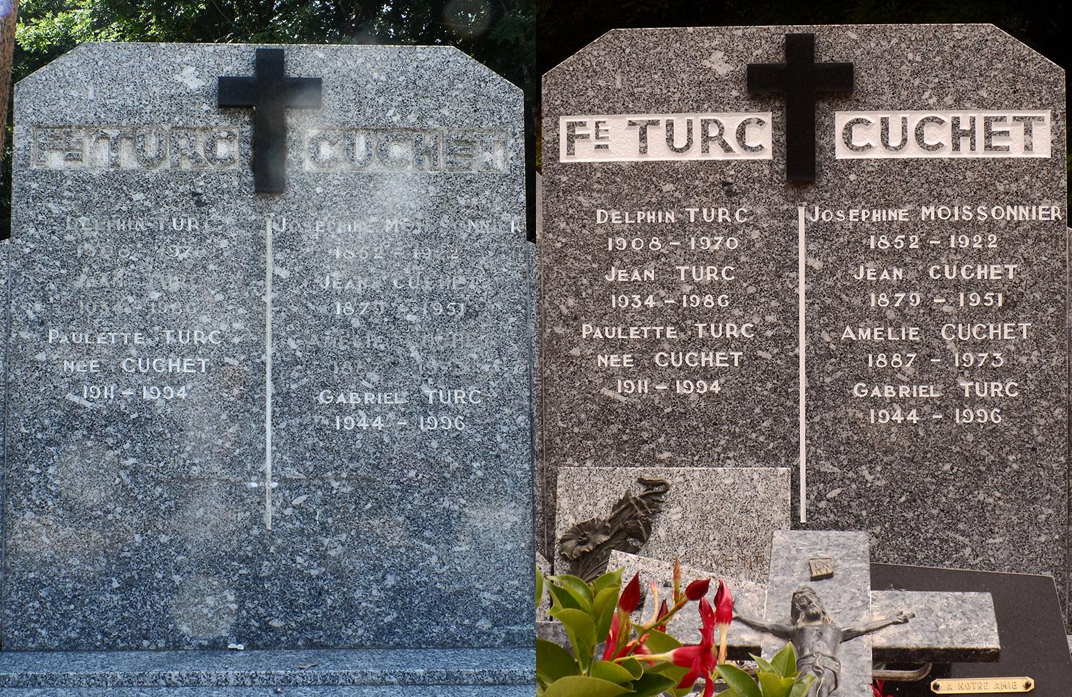 Entretien : nettoyage et peinture d'une tombe en granit