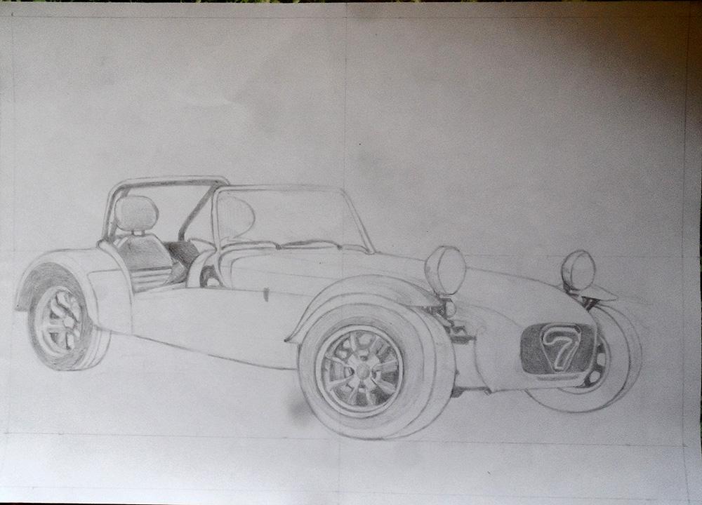Tracé à échelle 1 d'une Lotus Seven, voiture de collection