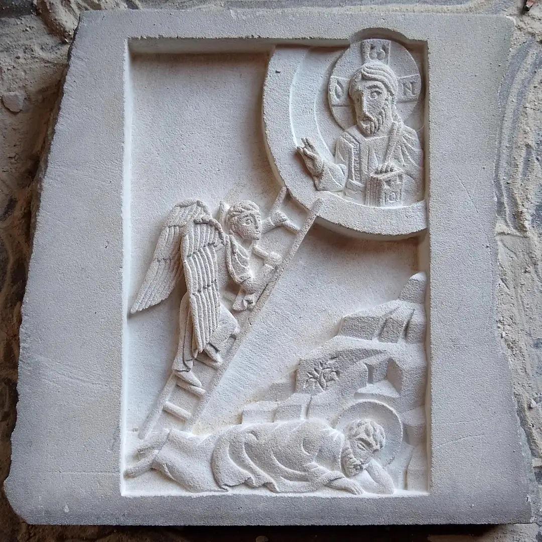 Échelle de Jacob en bas-relief en calcaire de Saint-Maximin